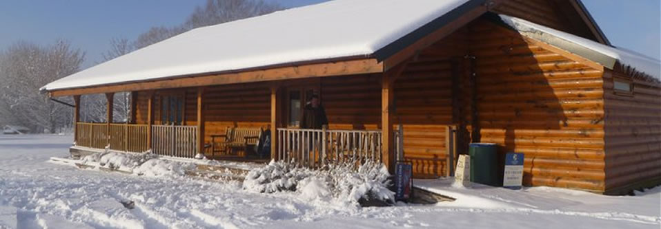 Shooting lodge in winter